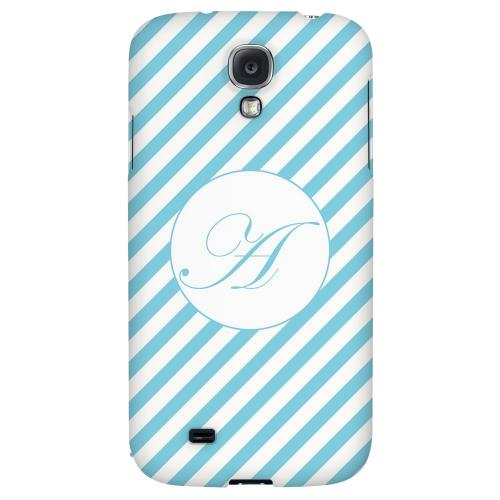Calligraphy Monogram A on Mint Slanted Stripes - Geeks Designer Line Monogram Series Hard Back Case for Samsung Galaxy S4