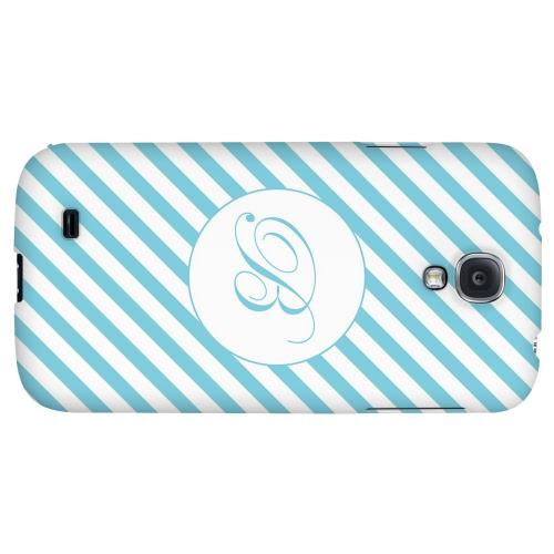 Calligraphy Monogram B on Mint Slanted Stripes - Geeks Designer Line Monogram Series Hard Back Case for Samsung Galaxy S4