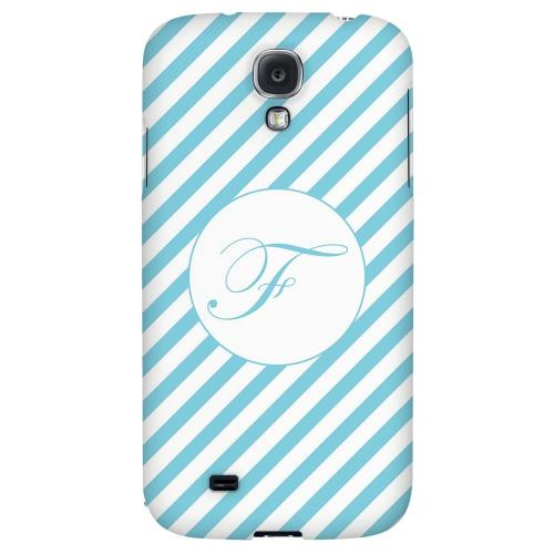 Calligraphy Monogram F on Mint Slanted Stripes - Geeks Designer Line Monogram Series Hard Back Case for Samsung Galaxy S4