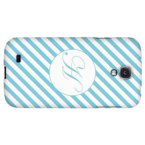 Calligraphy Monogram H on Mint Slanted Stripes - Geeks Designer Line Monogram Series Hard Back Case for Samsung Galaxy S4