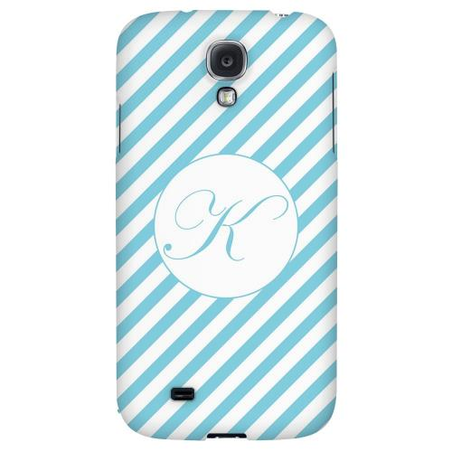 Calligraphy Monogram K on Mint Slanted Stripes - Geeks Designer Line Monogram Series Hard Back Case for Samsung Galaxy S4