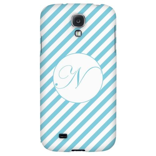 Calligraphy Monogram N on Mint Slanted Stripes - Geeks Designer Line Monogram Series Hard Back Case for Samsung Galaxy S4