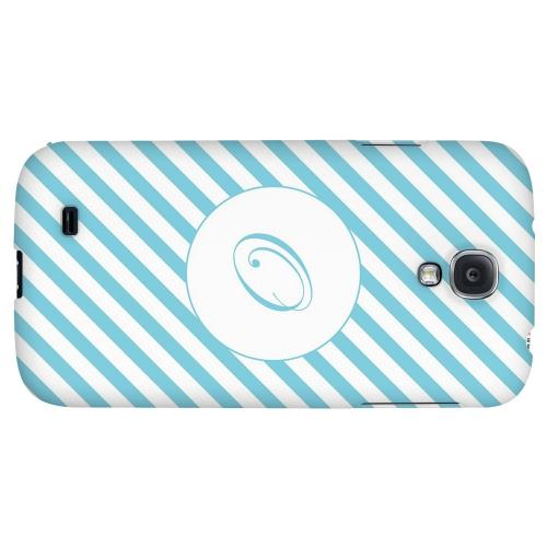 Calligraphy Monogram O on Mint Slanted Stripes - Geeks Designer Line Monogram Series Hard Back Case for Samsung Galaxy S4