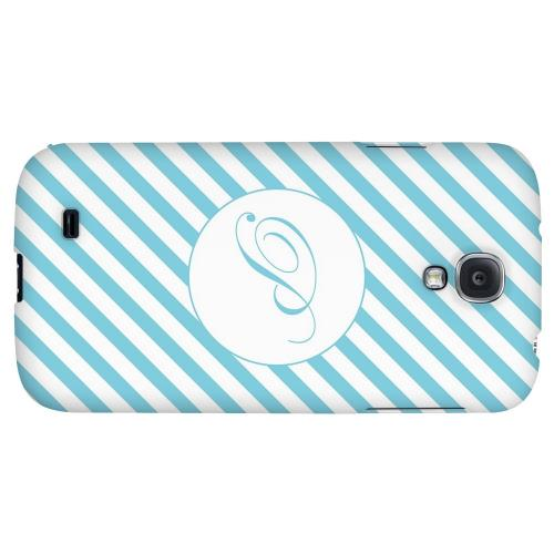 Calligraphy Monogram P on Mint Slanted Stripes - Geeks Designer Line Monogram Series Hard Back Case for Samsung Galaxy S4