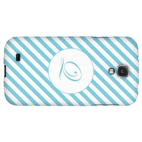 Calligraphy Monogram Q on Mint Slanted Stripes - Geeks Designer Line Monogram Series Hard Back Case for Samsung Galaxy S4