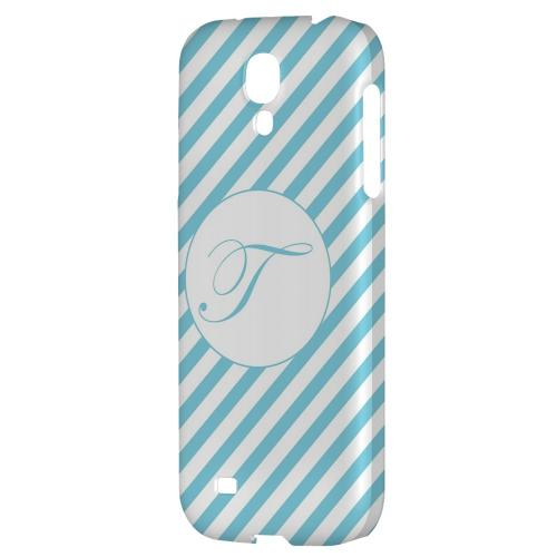 Calligraphy Monogram T on Mint Slanted Stripes - Geeks Designer Line Monogram Series Hard Back Case for Samsung Galaxy S4