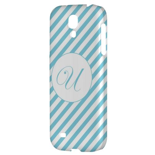 Calligraphy Monogram U on Mint Slanted Stripes - Geeks Designer Line Monogram Series Hard Back Case for Samsung Galaxy S4