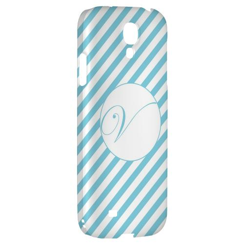 Calligraphy Monogram V on Mint Slanted Stripes - Geeks Designer Line Monogram Series Hard Back Case for Samsung Galaxy S4
