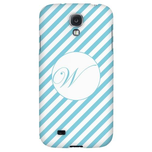 Calligraphy Monogram W on Mint Slanted Stripes - Geeks Designer Line Monogram Series Hard Back Case for Samsung Galaxy S4