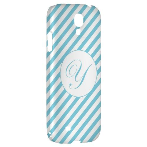 Calligraphy Monogram Y on Mint Slanted Stripes - Geeks Designer Line Monogram Series Hard Back Case for Samsung Galaxy S4
