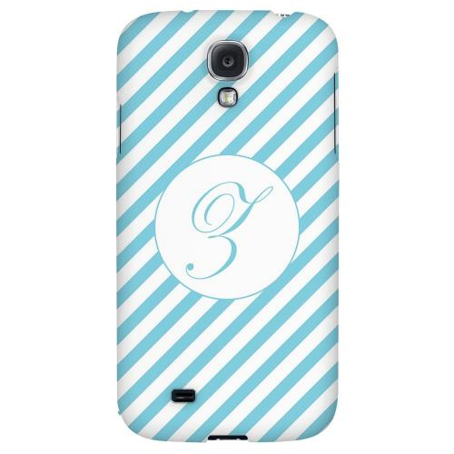Calligraphy Monogram Z on Mint Slanted Stripes - Geeks Designer Line Monogram Series Hard Back Case for Samsung Galaxy S4