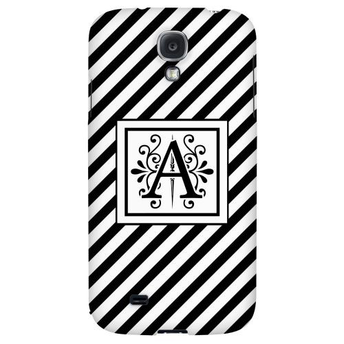 Vintage Vine Monogram A On Black Slanted Stripes - Geeks Designer Line Monogram Series Hard Back Case for Samsung Galaxy S4