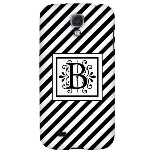 Vintage Vine Monogram B On Black Slanted Stripes - Geeks Designer Line Monogram Series Hard Back Case for Samsung Galaxy S4
