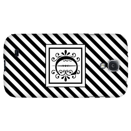 Vintage Vine Monogram C On Black Slanted Stripes - Geeks Designer Line Monogram Series Hard Back Case for Samsung Galaxy S4