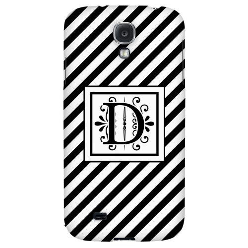 Vintage Vine Monogram D On Black Slanted Stripes - Geeks Designer Line Monogram Series Hard Back Case for Samsung Galaxy S4