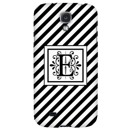 Vintage Vine Monogram E On Black Slanted Stripes - Geeks Designer Line Monogram Series Hard Back Case for Samsung Galaxy S4