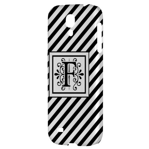 Vintage Vine Monogram F On Black Slanted Stripes - Geeks Designer Line Monogram Series Hard Back Case for Samsung Galaxy S4