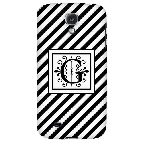 Vintage Vine Monogram G On Black Slanted Stripes - Geeks Designer Line Monogram Series Hard Back Case for Samsung Galaxy S4