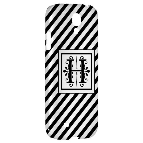 Vintage Vine Monogram H On Black Slanted Stripes - Geeks Designer Line Monogram Series Hard Back Case for Samsung Galaxy S4
