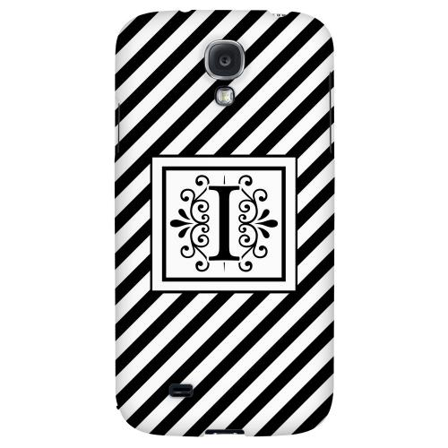 Vintage Vine Monogram I On Black Slanted Stripes - Geeks Designer Line Monogram Series Hard Back Case for Samsung Galaxy S4