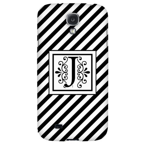 Vintage Vine Monogram J On Black Slanted Stripes - Geeks Designer Line Monogram Series Hard Back Case for Samsung Galaxy S4