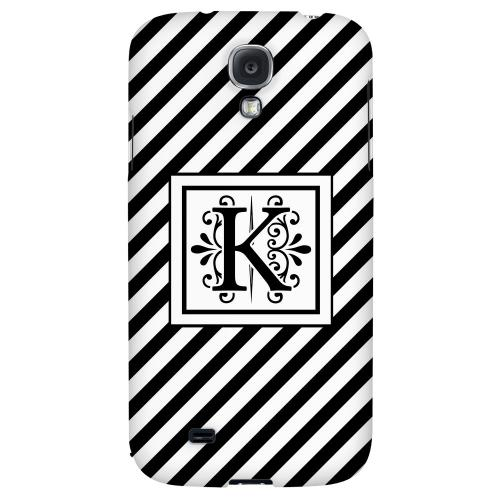 Vintage Vine Monogram K On Black Slanted Stripes - Geeks Designer Line Monogram Series Hard Back Case for Samsung Galaxy S4