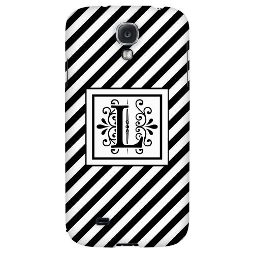 Vintage Vine Monogram L On Black Slanted Stripes - Geeks Designer Line Monogram Series Hard Back Case for Samsung Galaxy S4