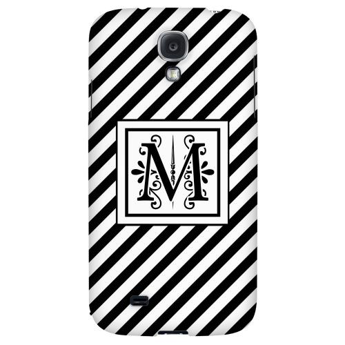 Vintage Vine Monogram M On Black Slanted Stripes - Geeks Designer Line Monogram Series Hard Back Case for Samsung Galaxy S4