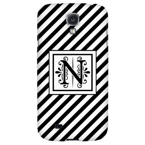 Vintage Vine Monogram N On Black Slanted Stripes - Geeks Designer Line Monogram Series Hard Back Case for Samsung Galaxy S4