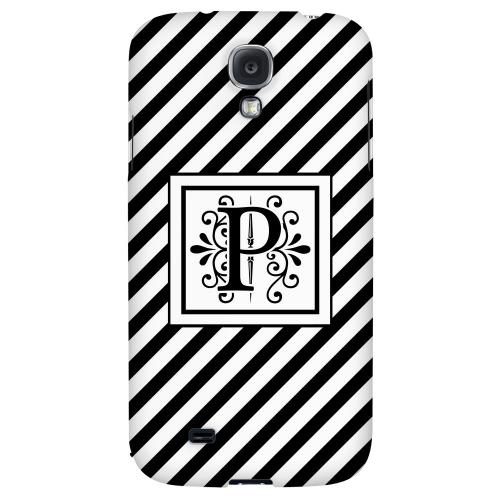 Vintage Vine Monogram P On Black Slanted Stripes - Geeks Designer Line Monogram Series Hard Back Case for Samsung Galaxy S4