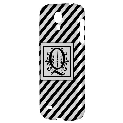 Vintage Vine Monogram Q On Black Slanted Stripes - Geeks Designer Line Monogram Series Hard Back Case for Samsung Galaxy S4