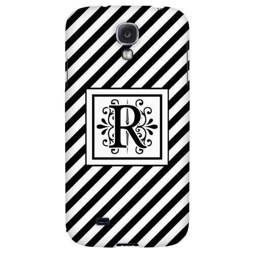 Vintage Vine Monogram R On Black Slanted Stripes - Geeks Designer Line Monogram Series Hard Back Case for Samsung Galaxy S4