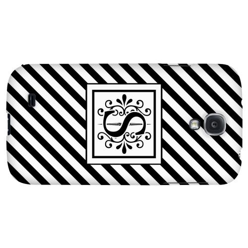 Vintage Vine Monogram S On Black Slanted Stripes - Geeks Designer Line Monogram Series Hard Back Case for Samsung Galaxy S4