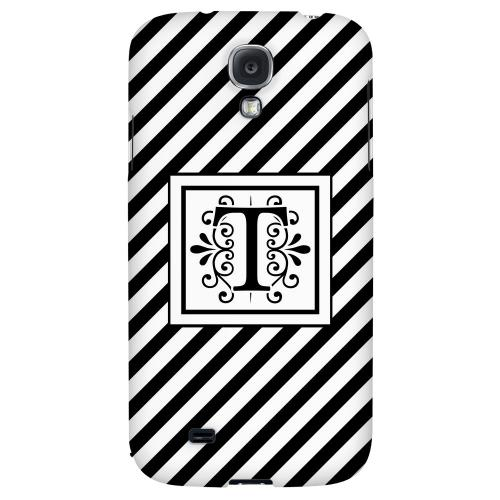 Vintage Vine Monogram T On Black Slanted Stripes - Geeks Designer Line Monogram Series Hard Back Case for Samsung Galaxy S4