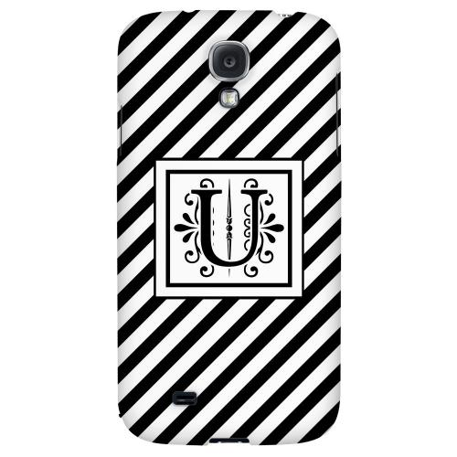 Vintage Vine Monogram U On Black Slanted Stripes - Geeks Designer Line Monogram Series Hard Back Case for Samsung Galaxy S4