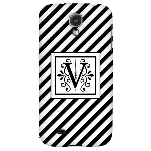 Vintage Vine Monogram V On Black Slanted Stripes - Geeks Designer Line Monogram Series Hard Back Case for Samsung Galaxy S4