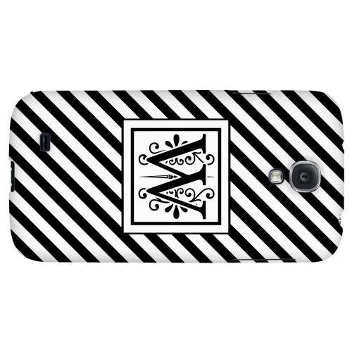 Vintage Vine Monogram W On Black Slanted Stripes - Geeks Designer Line Monogram Series Hard Back Case for Samsung Galaxy S4