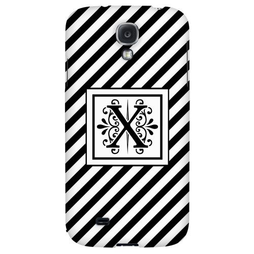 Vintage Vine Monogram X On Black Slanted Stripes - Geeks Designer Line Monogram Series Hard Back Case for Samsung Galaxy S4