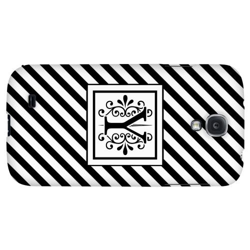 Vintage Vine Monogram Y On Black Slanted Stripes - Geeks Designer Line Monogram Series Hard Back Case for Samsung Galaxy S4