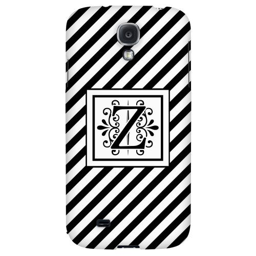 Vintage Vine Monogram Z On Black Slanted Stripes - Geeks Designer Line Monogram Series Hard Back Case for Samsung Galaxy S4