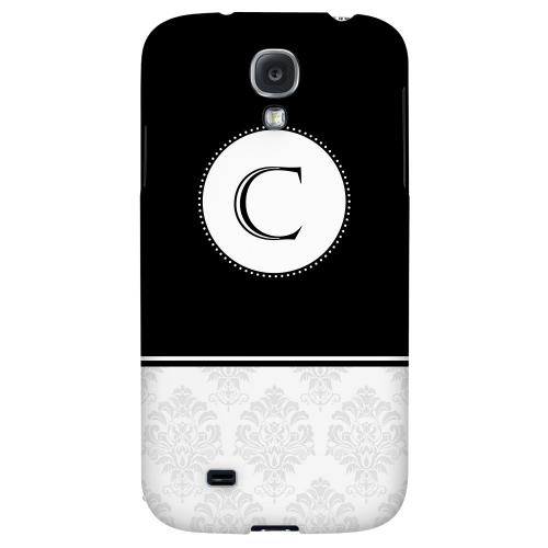 Black Monogram C w/ White Damask Design - Geeks Designer Line Monogram Series Hard Back Case for Samsung Galaxy S4
