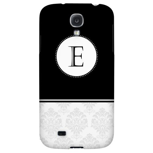 Black Monogram E w/ White Damask Design - Geeks Designer Line Monogram Series Hard Back Case for Samsung Galaxy S4