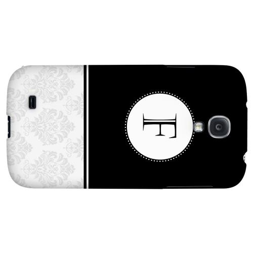 Black Monogram F w/ White Damask Design - Geeks Designer Line Monogram Series Hard Back Case for Samsung Galaxy S4