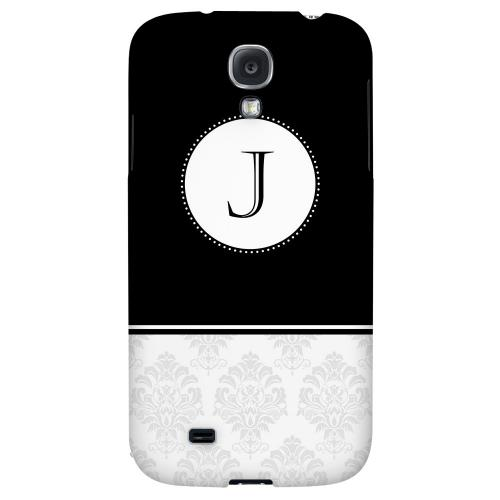 Black Monogram J w/ White Damask Design - Geeks Designer Line Monogram Series Hard Back Case for Samsung Galaxy S4