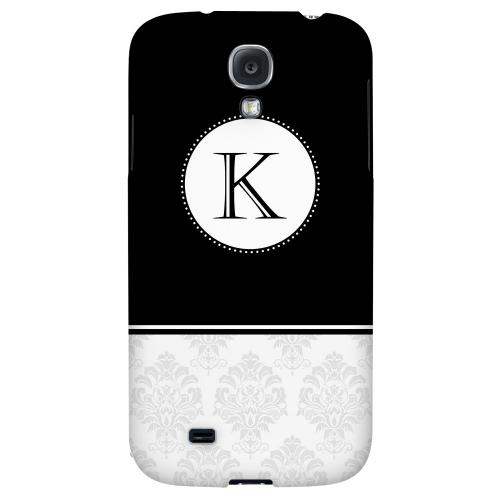 Black Monogram K w/ White Damask Design - Geeks Designer Line Monogram Series Hard Back Case for Samsung Galaxy S4