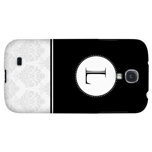 Black Monogram L w/ White Damask Design - Geeks Designer Line Monogram Series Hard Back Case for Samsung Galaxy S4