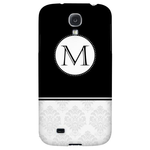 Black Monogram M w/ White Damask Design - Geeks Designer Line Monogram Series Hard Back Case for Samsung Galaxy S4