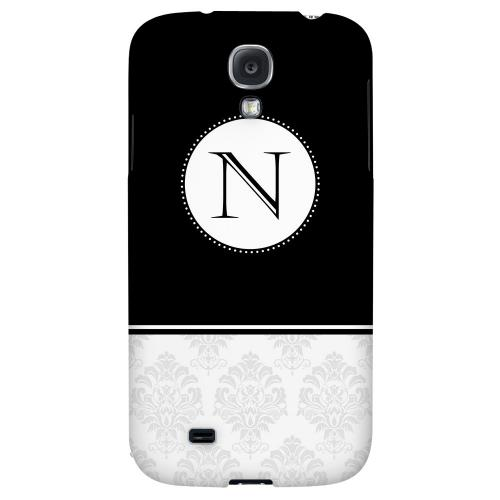 Black Monogram N w/ White Damask Design - Geeks Designer Line Monogram Series Hard Back Case for Samsung Galaxy S4