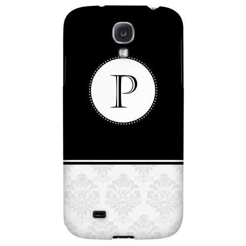 Black Monogram P w/ White Damask Design - Geeks Designer Line Monogram Series Hard Back Case for Samsung Galaxy S4
