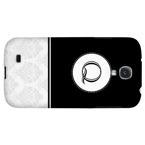Black Monogram Q w/ White Damask Design - Geeks Designer Line Monogram Series Hard Back Case for Samsung Galaxy S4